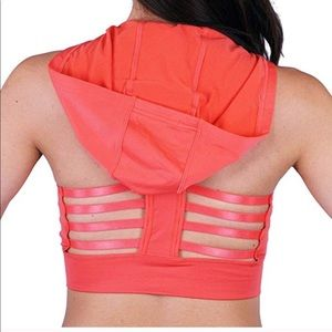 Other - Hooded coral caged back sports bra